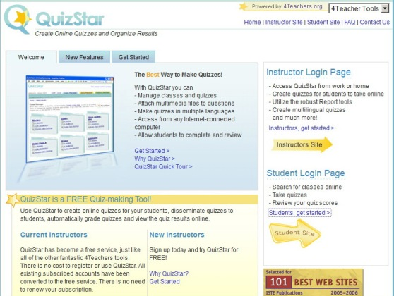 Tampilan site Quizstar4Teacher.org